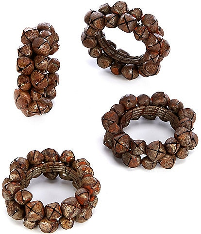Southern Living Holiday Bronze Jingle Bell Napkin Rings, Set of 4