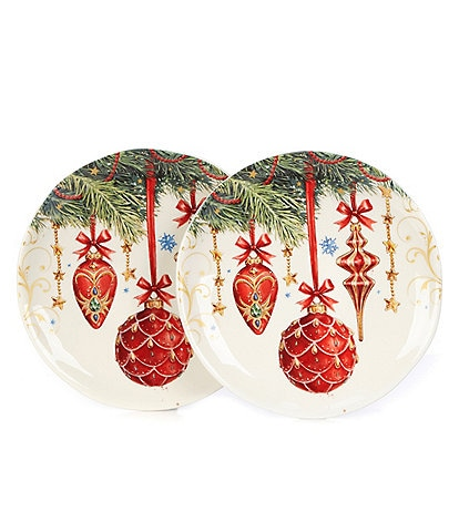 Southern Living Holiday Classic Ornament Accent Plates, Set of 2