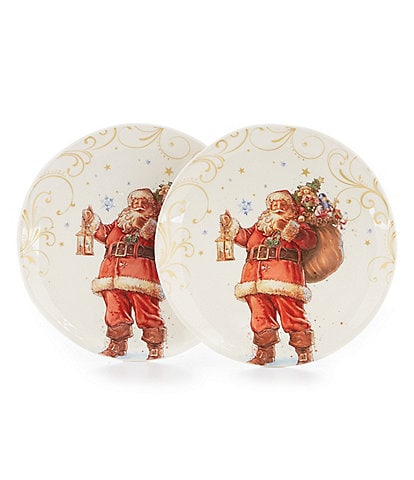 Southern Living Holiday Classic Santa Clause Accent Plates, Set of 2