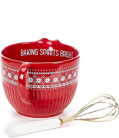 Southern Living Holiday Red Batter Bowl with Whisk