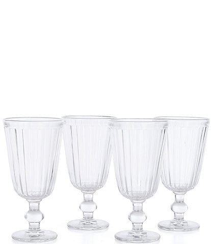 Southern Living Holiday Ribbed Clear Goblets, Set of 4
