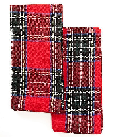 Southern Living Holiday Wallace Red Plaid Napkins, Set of 2