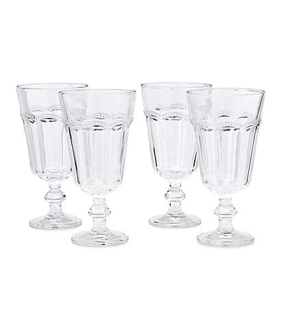 Southern Living Lace Footed Clear Goblet Set of 4
