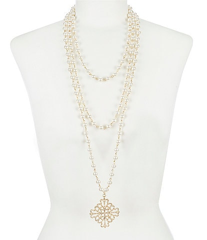 Southern Living Laura Beth Multi-Strand Pearl Pendant Necklace