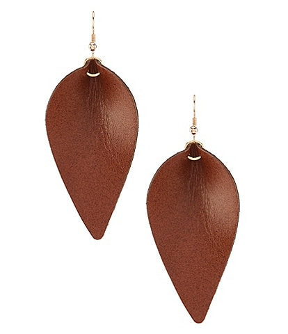 Southern Living Leather Teardrop Statement Earrings