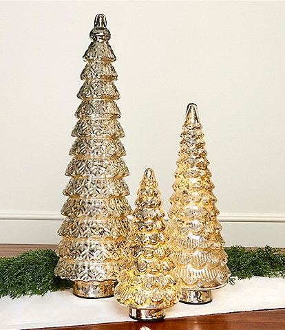 Southern Living LED Lighted Scalloped Silver Glass Tree Holiday Decor
