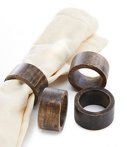 Southern Living Mango Wood Napkin Rings, Set of 4