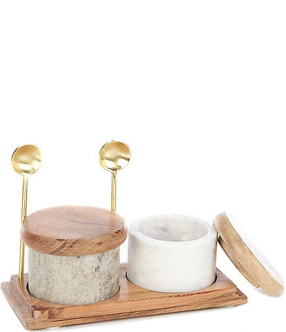 Southern Living Marble Salt & Pepper Cellar Set