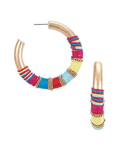 Southern Living Mixed Media Wrapped Hoop Earrings