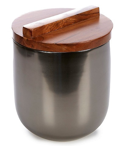 Southern Living Modern Grey Stainless Steel Ice Bucket with Wood Lid