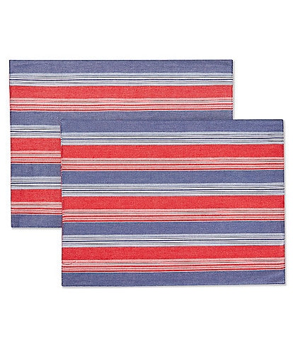 Southern Living Narrow Stripe Fringe Placemats, Set of 2