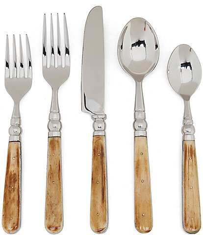 Southern Living Natural Bone 20-Piece Stainless Steel Flatware Set