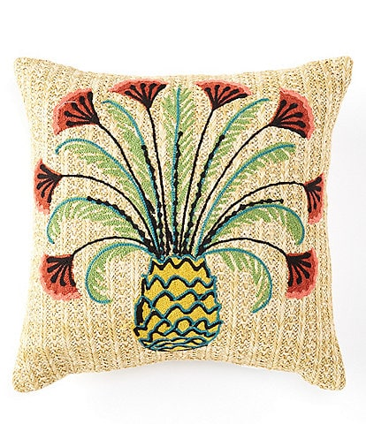 Southern Living Outdoor Living Collection Embroidered Pineapple Indoor/Outdoor Pillow