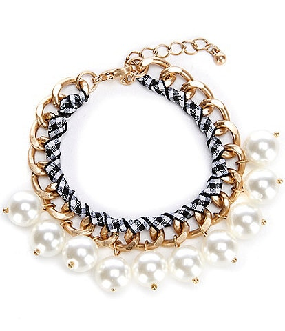 Southern Living Pearl and Gingham Bracelet