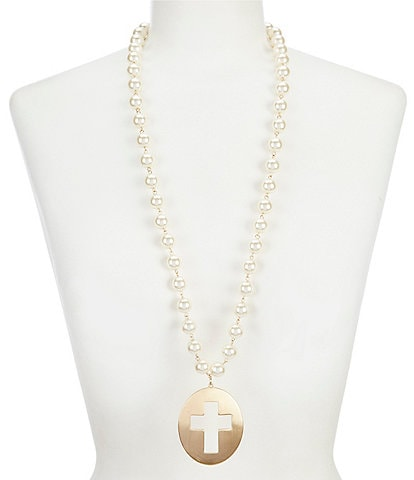 Southern Living Pearl Cross Cut Out Pendant Necklace