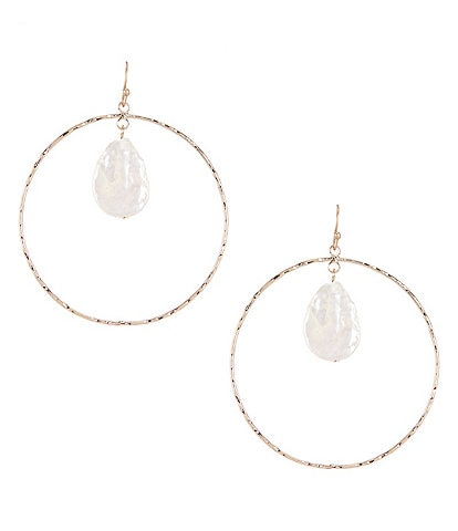 Southern Living Pearl Drop Hoop Earrings