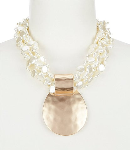 Southern Living Pearl Multi Strand Statement Necklace