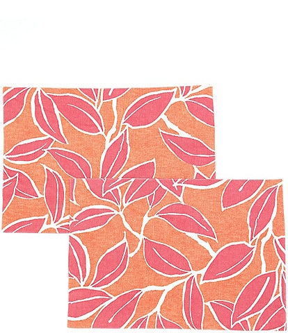 Southern Living Pink Leaf Placemat, Set of 2