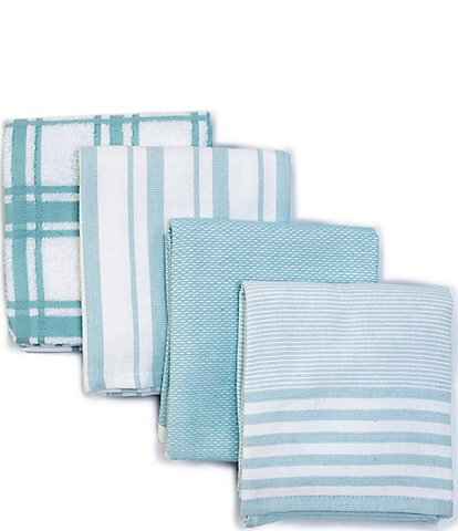 Southern Living Plain Checked and Strpied Kitchen Towels, Set of 4