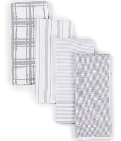 Southern Living Plain Checked and Striped Kitchen Towels, Set of 4