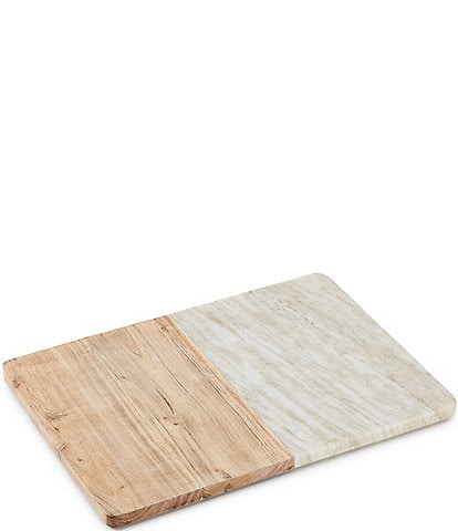 Southern Living Rectangular Beige Marble and Acacia Wood Serving Board