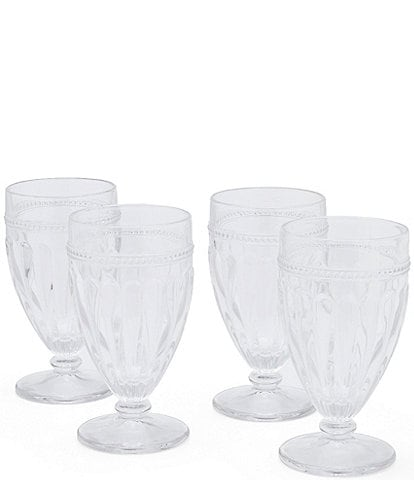 Southern Living 4-Piece Ribbed Footed Iced Beverage Glass Set