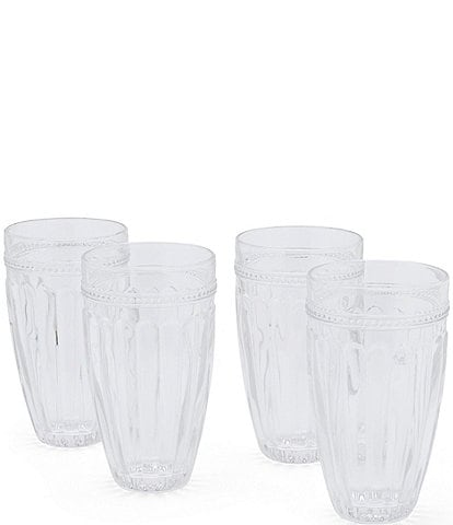 Southern Living Ribbed Highball Glasses, Set of 4