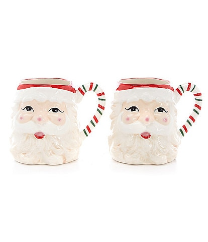 Southern Living Santa Figural Mugs, Set of 2