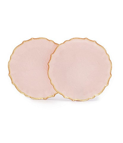 Southern Living Spring Collection Scalloped Glass Accent Plates, Set of 2