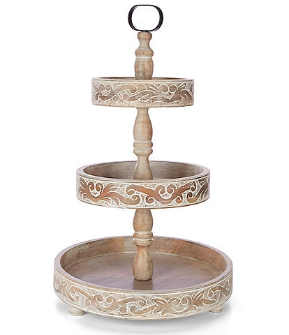 Southern Living Scroll White Wash Mango Wood 3-Tier Carved Server