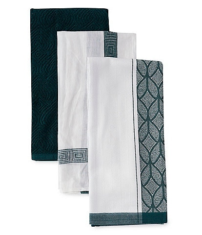 Southern Living Kitchen Solution Collection Set of 3 Blue Kitchen Towels with a Purpose