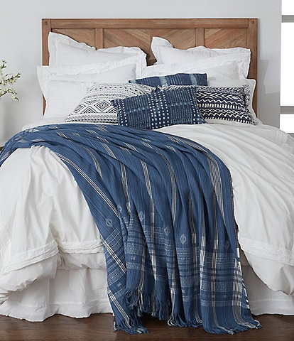 Southern Living Simplicity Collection Sutton Indigo Linen& Cotton Coverlet