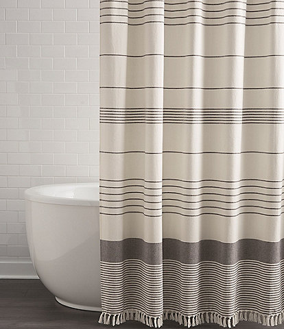 Southern Living Simplicity Collection Tanner Fringed Shower Curtain