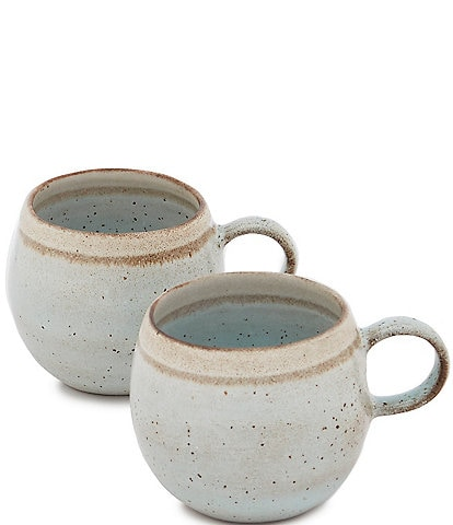 Southern Living Astra Collection Glazed Stripe Belly Mug, Set of 2