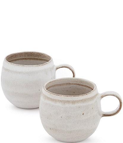 Southern Living Astra Collection Glazed Stripe Belly Mug, Set of 2