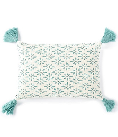 Southern Living Spring Collection Embroidered Ditsy with Tassels Pillow