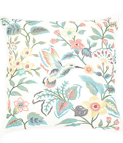 Southern Living Spring Collection Embroidered Flower & Bird Square Pillow