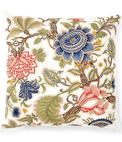 Southern Living Spring Collection Floral Embroidered Square Pillow