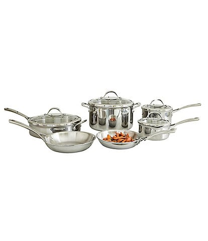 Southern Living Tri-Ply Clad Stainless Steel 10-Piece Cookware Set