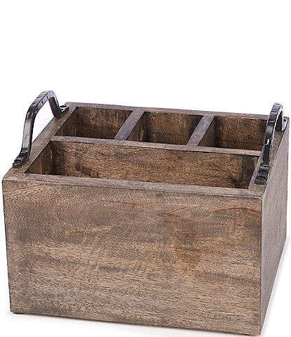 Southern Living Festive Fall Weathered Mango Wood Utensil Caddy with Iron Handles