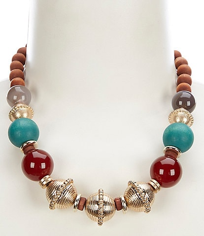 Southern Living Wood Bead Statement Necklace