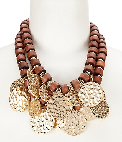 Southern Living Wood Statement Necklace