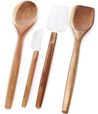 Southern Living Wood Utensil and Silicone Spatula, Set of 4