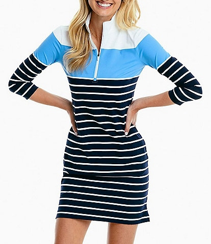 Southern Tide Adie Performance Knit Colorblock Stripe Sheath Dress