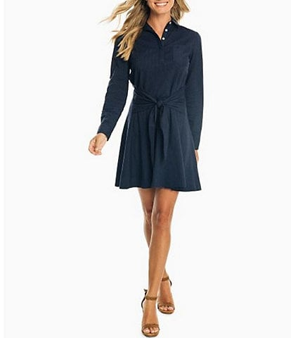 Southern Tide Aliyah Stretch Cotton Tie-Front Shirt Dress