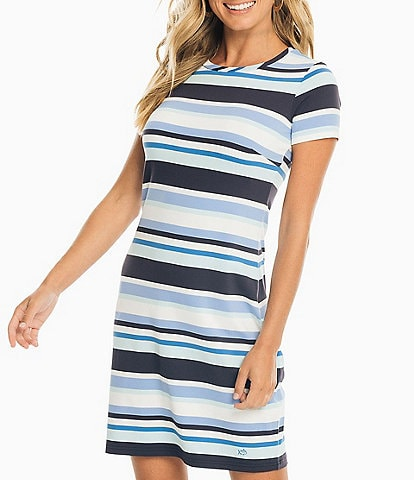 Southern Tide Amelia Variegated Stripe Performance Knit Short Sleeve Shift Dress
