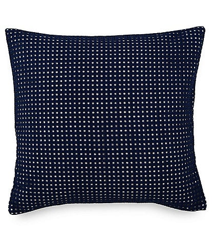 Southern Tide Bayside Square Navy Eyelet Decorative Pillow