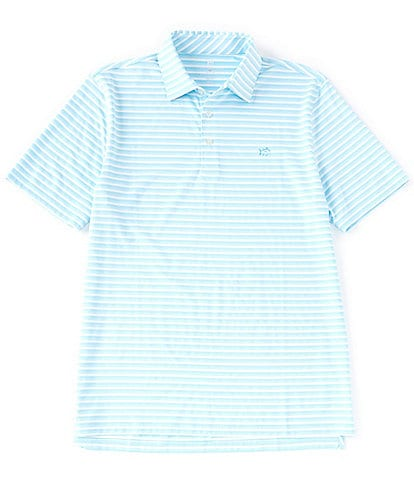 Southern Tide BRRR Driver Heather Stripe Performance Stretch Short-Sleeve Polo Shirt