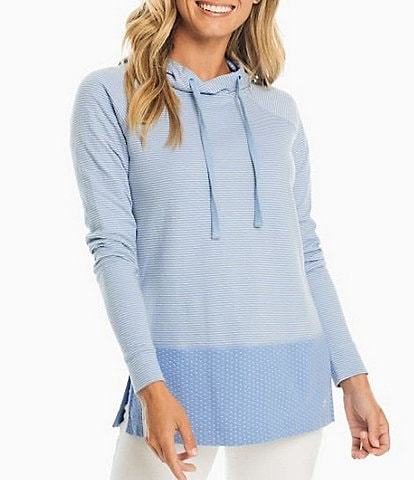 Southern Tide Cadie Stripe Dot Print Mix Knit Long Sleeve Hooded Tunic
