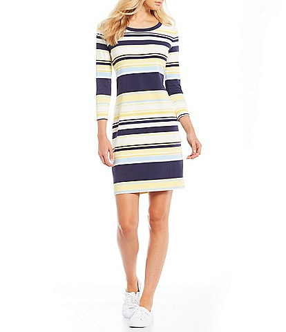 Southern Tide Camille Performance Stretch Colorblock Stripe 3/4 Sleeve Sheath Dress